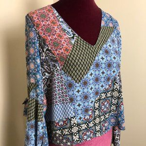 Lush Patchwork Bell Sleeve Top